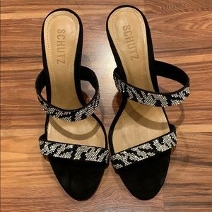 Schutz Zebra Bling Sandals
